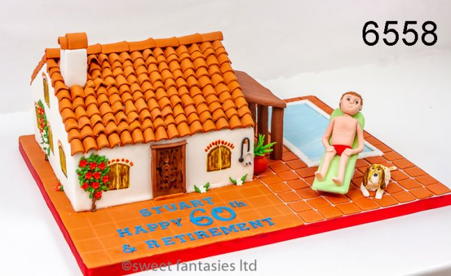 3D villa, retirement & birthday cake