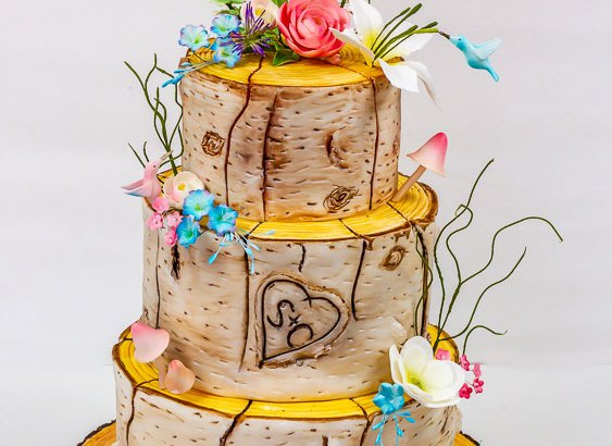 tree bark affect wedding cake by sweet fantasies