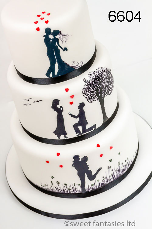 White with black silhouettes wedding cake