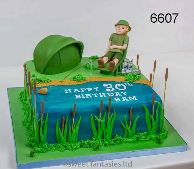 Fishing themed - sports birthday cake