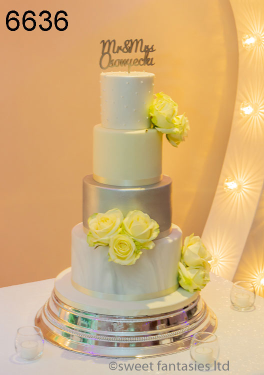 White, lemon & silver wedding cake by sweet fantasies