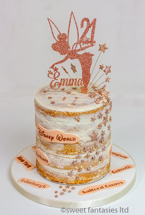 Semi naked tinker bell 21st birthday cake
