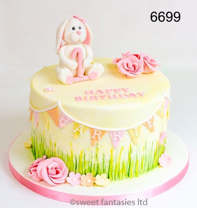 Girls 1st Birthday Cake with Rabbit & Flowers