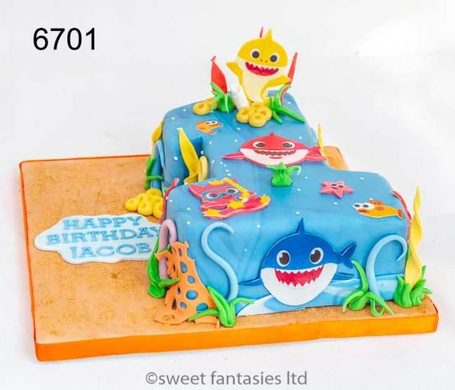 Boys Number 1 Baby shark Birthday Cake