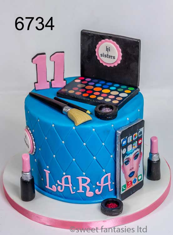 girls make-up birthday cake