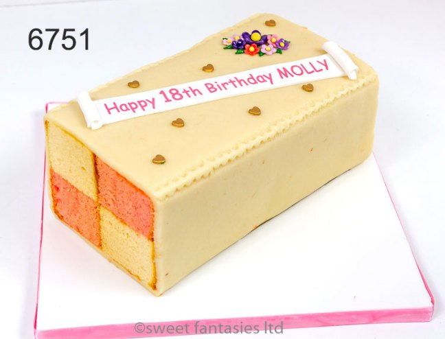 decorated Battenberg cake, girls 18th