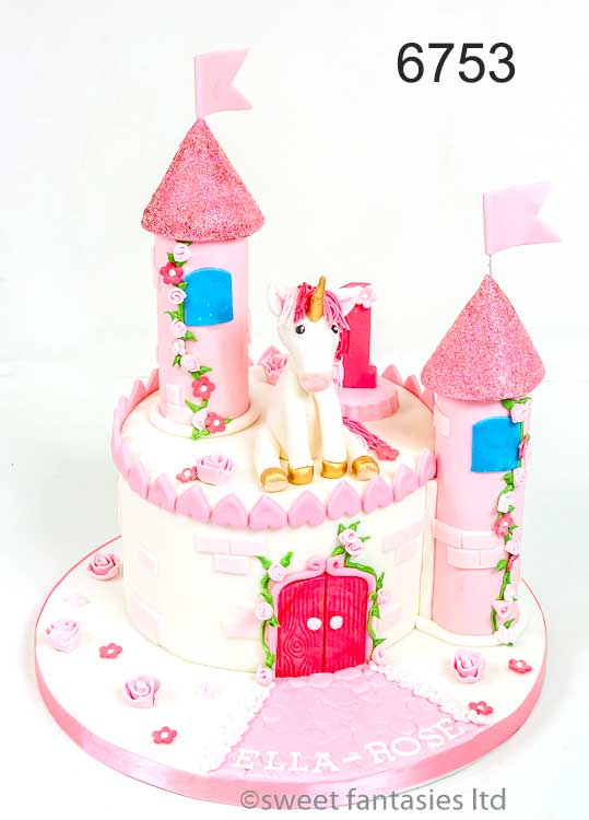girls birthday cake- castle & unicorn