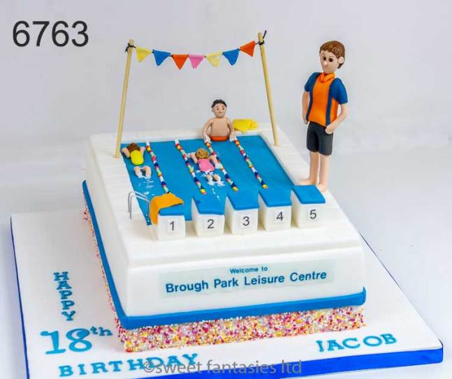 Boys 18th cake, pool lifeguard theme