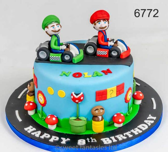 Cakes for Boys. Mario Brothers in go-carts