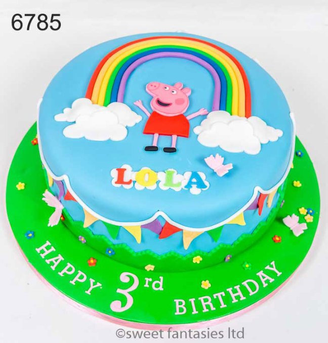 Peppa Pig cake with rainbow, flowers & bunting