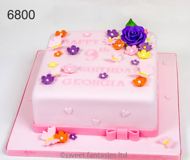 square pink cake with Flowers & butterflies