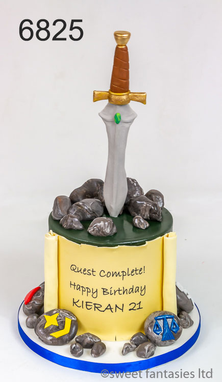 Boys 18th birthday cake, gaming theme with sword.