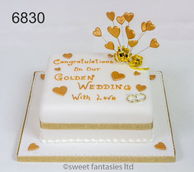 Golden Wedding Cake with Hearts