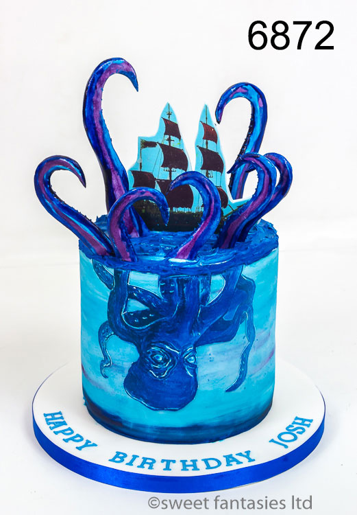 Cakes for Boys, Pirate ship with Octopus (Kraken)