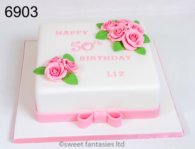ladies 50th birthday cake with pink roses