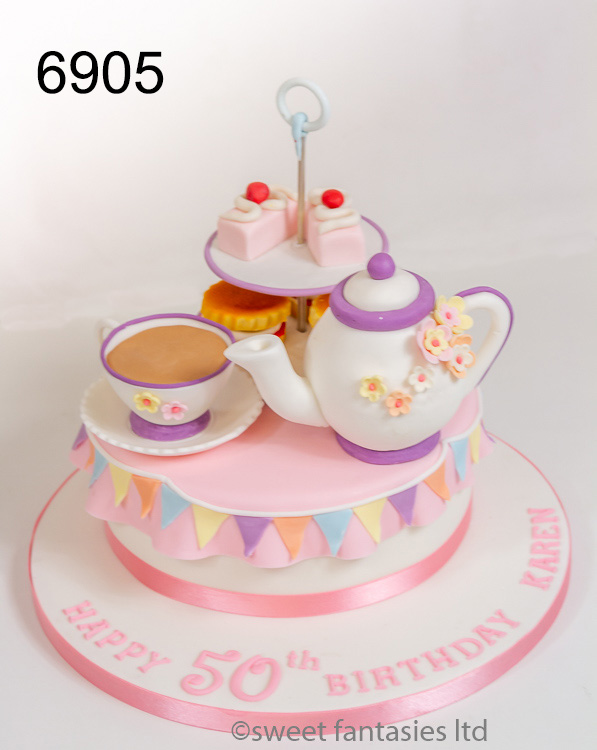 Ladies 50th, Afternoon tea themed cake with cakes, teapot, cup & saucer
