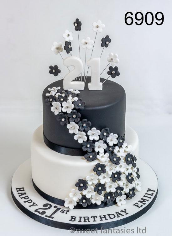 Black & White - girls 21st birthday cake