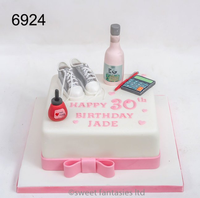 Ladies 30th birthday cake with Make-up, trainers & calculater