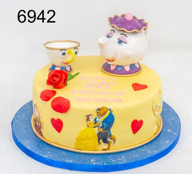 Chip & mrs potts, beauty & the beast ladies birthday cake