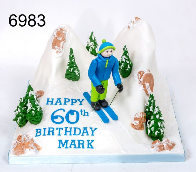 Skiing Themed Birthday Cake