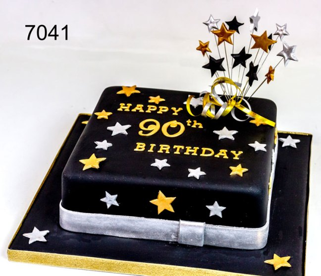 Black,white & gold 90th birthday cake for a man