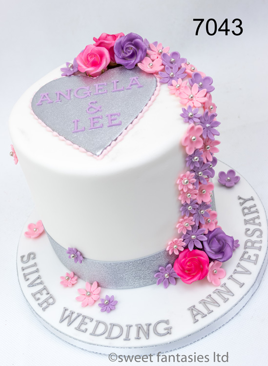 Tall Silver & White , Silver Wedding Anniversary Cake