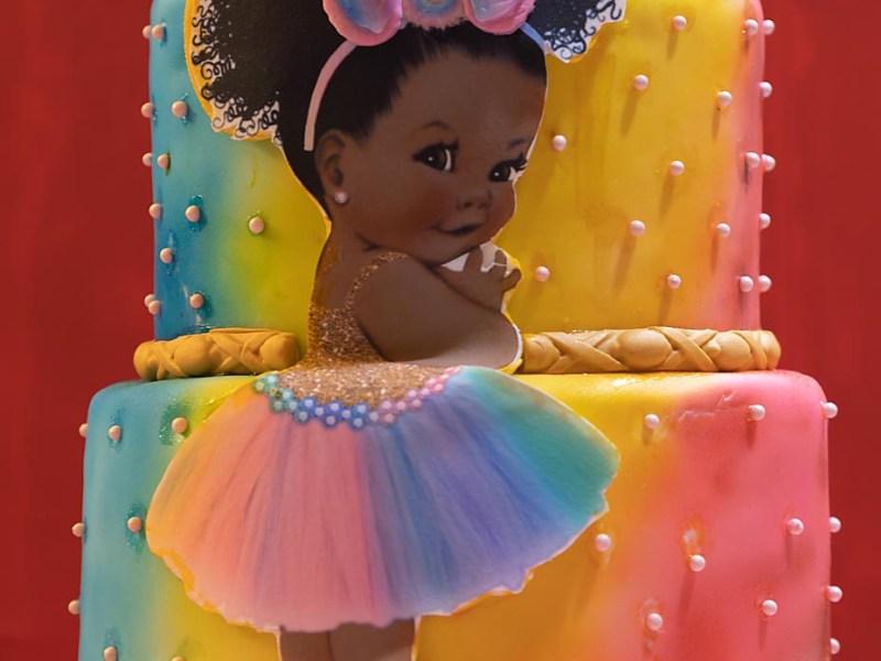 afro puffs baby unicorn cake