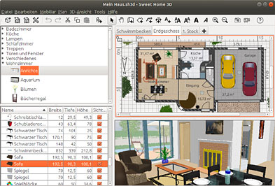 Sweet home 3d lets you also import libraries of 3d models stored in sh3f files. Sweet Home 3d Features