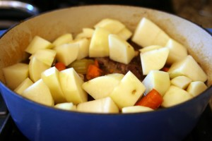 Garlicky Pot Roast Potatoes