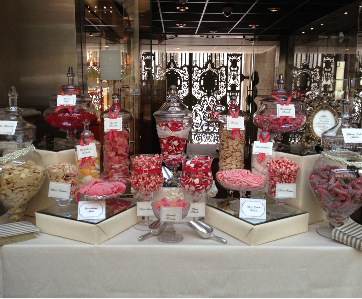 Wedding Candy Buffet in corals  Candy Buffets l Sweetie Tables l Dessert Tables l Handmade