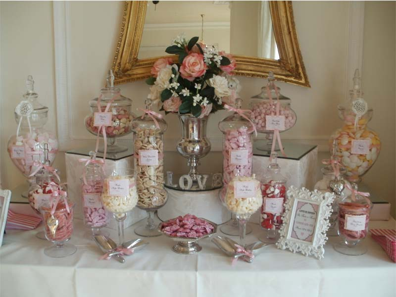 wedding candy buffet in pink