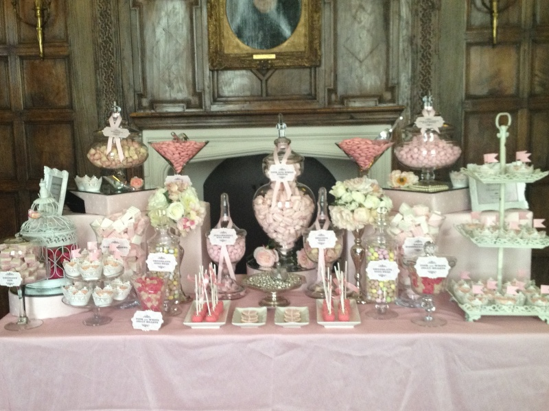 Wedding Candy Buffet in Vintage Pink  Candy Buffets l Sweetie Tables l Dessert Tables l
