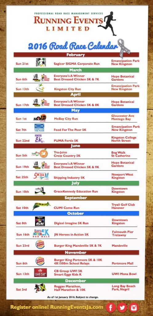 Running Events Calendar 2016