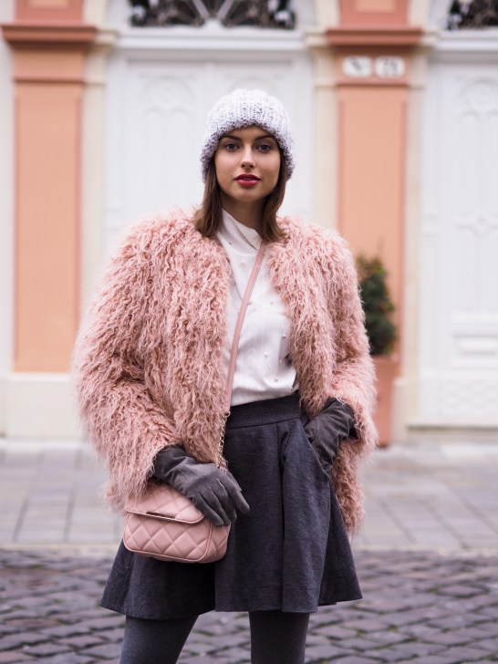 pink fur coat & wool skirt2