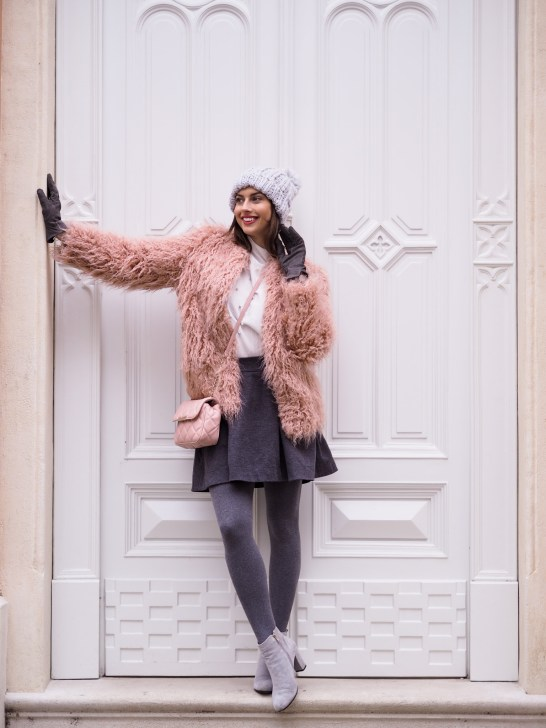 pink fur coat & wool skirt