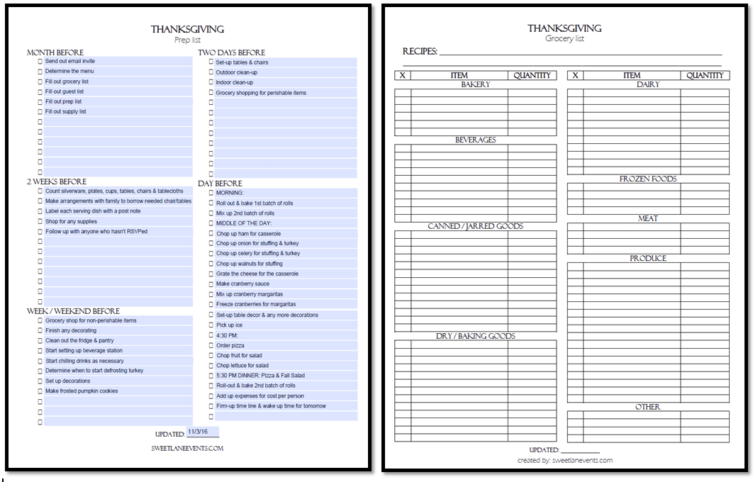 Thanksgiving Prep & Grocery List Template   Sweet Lane Events