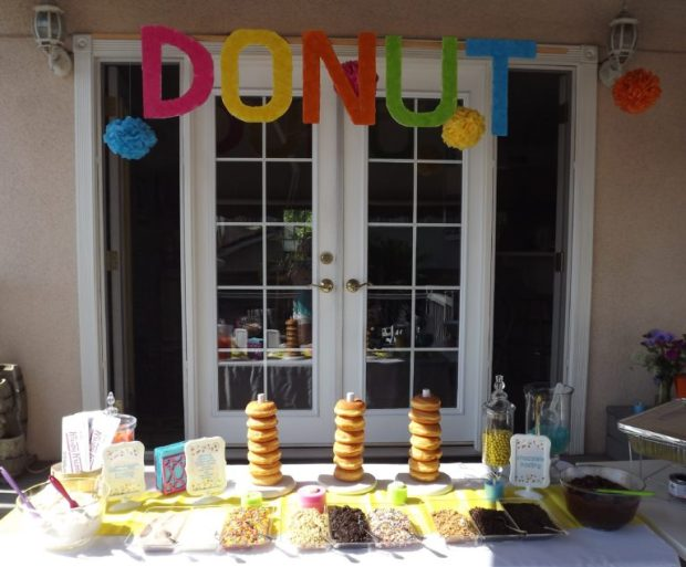 donut sign and donut stands for diy donut bar