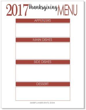 Free Printable Thanksgiving Menu | Sweet Lane Events