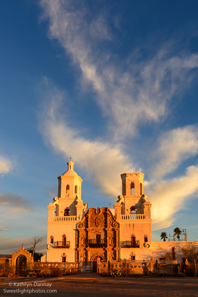 San Xavier Mission Aglow - with the dove like clouds descending