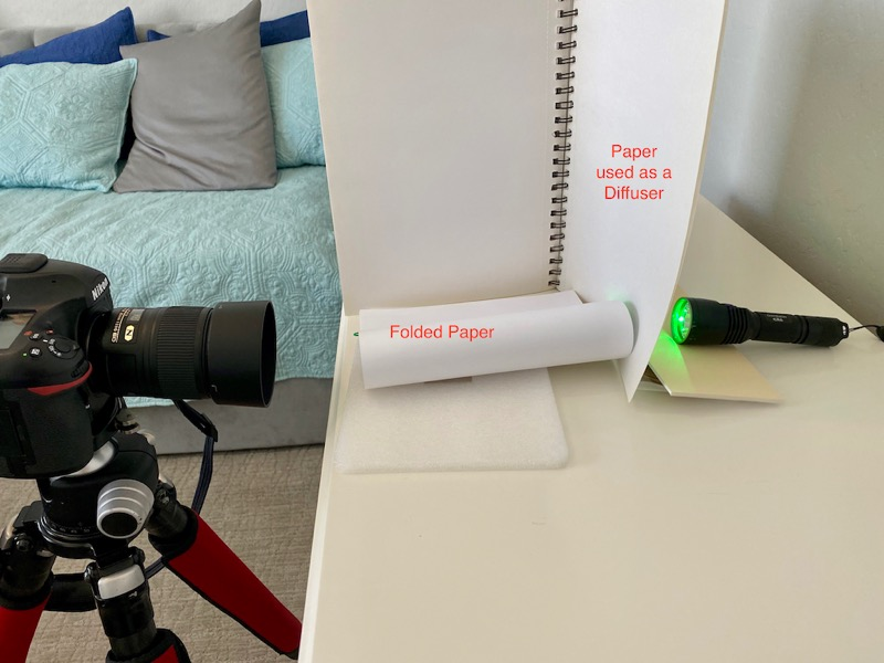 camera set-up with paper and light