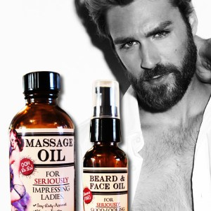 Massage & Beard Oil for seriously impressing the ladies. Handmade with pure and natural ingredients. By Sweet Living Co. Made in Canada. Vegan, pure, all-natural.