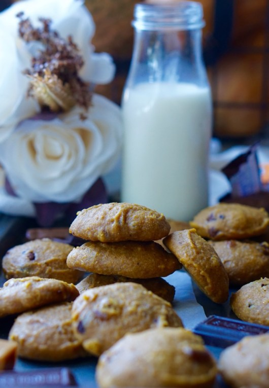 Even though there is some leftover Halloween Candy in these Soft Pumpkin Cookies, they are still healthy enough to eat for breakfast! Enjoy more than a few without feeling guilty about it!
