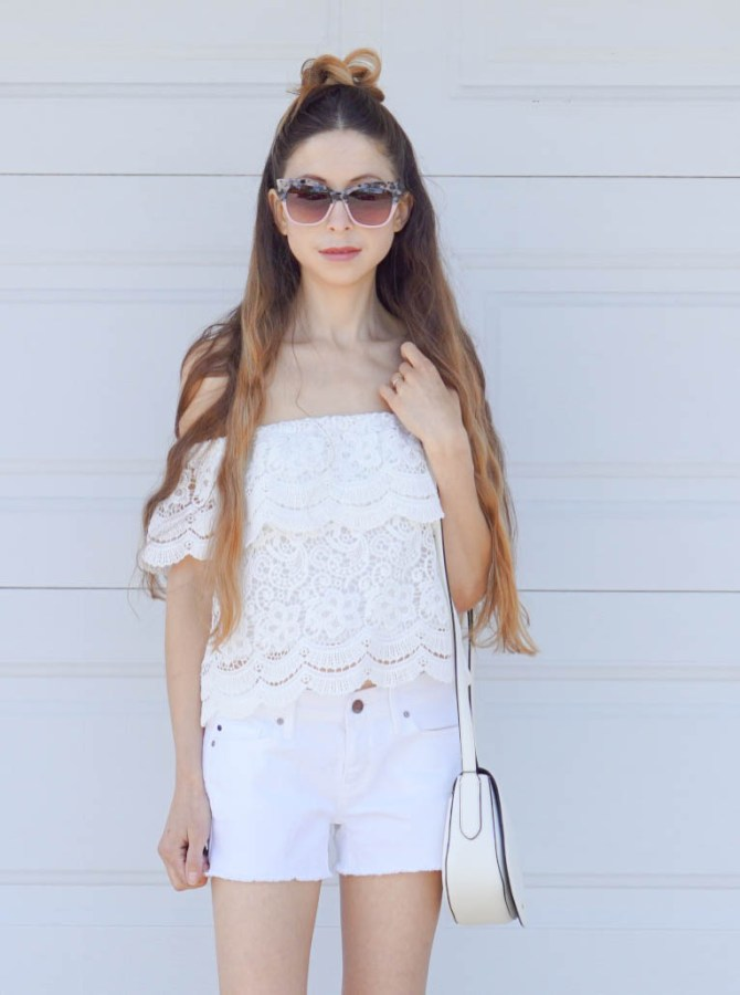 This All White Outfit is summery, breezy and feminine! The lacy top is playful, yet classy and the classic white shorts make the outfit look put together!
