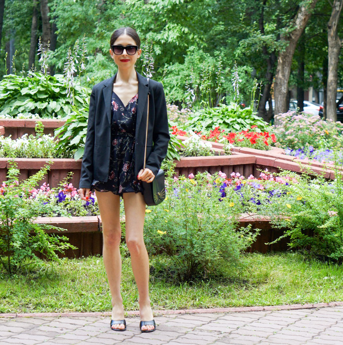 There are so many ways to style a Floral Romper for Fall! On its own it's romantic and causal, worn it with a classic jacket and pumps it's so conservative!