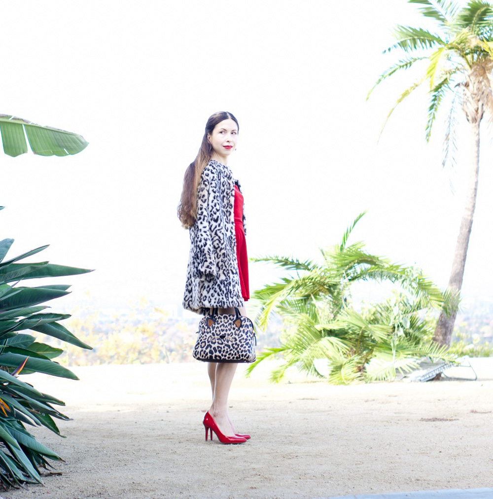Leopard faux fur coat and red dress