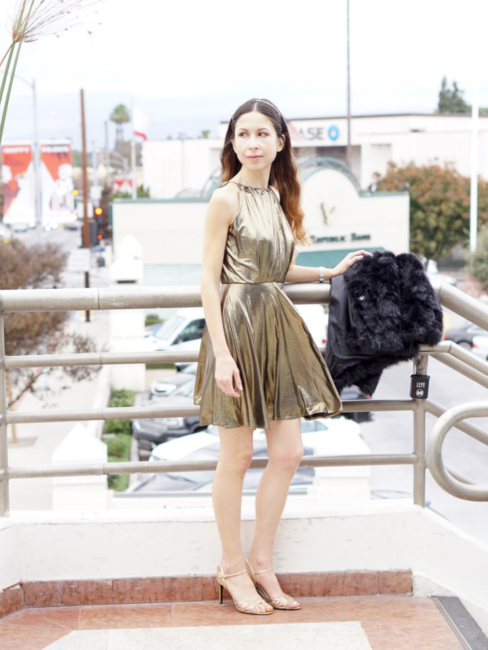 Gold Cocktail Dress, Faux Fur Jacket and Gold Hairband