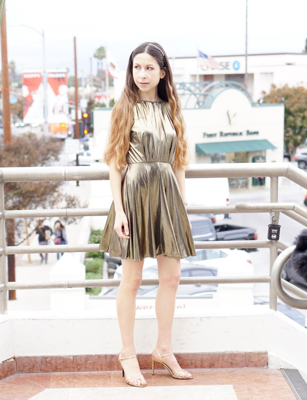 Gold Cocktail Dress and Gold Hairband