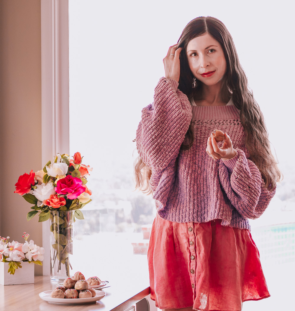 Pink Skirt and Purple Sweater