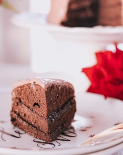 Low Calorie Chocolate Cake with the Low Calorie Fudge Filling & Chocolate Frosting that is healthy, all-natural, fast to make and super-delicious!