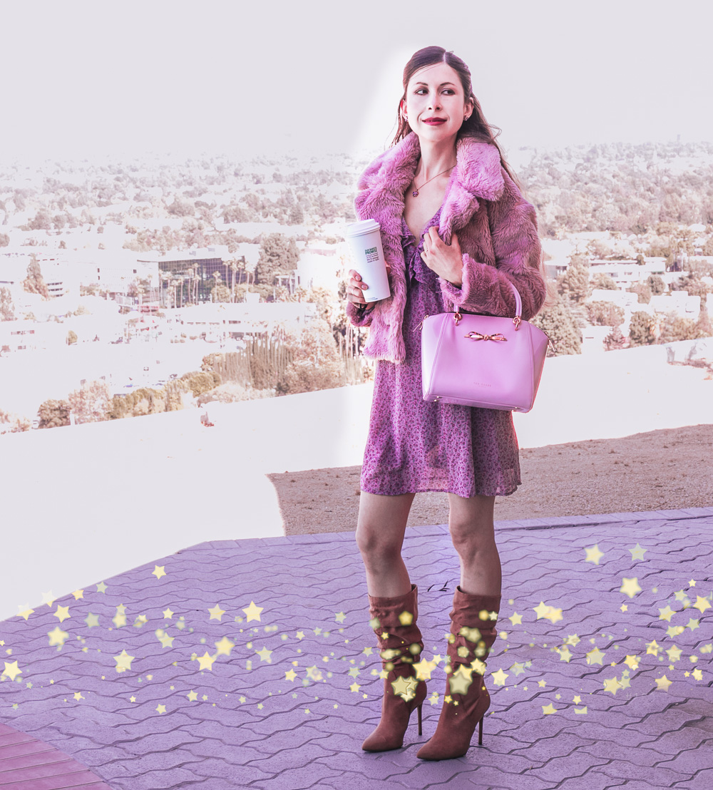 Pink Fur Coat and Purple Dress Outfit